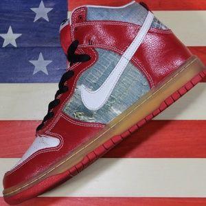 Nike Dunk SB High Shoe Goo Red Silver Skate sz 8.5
